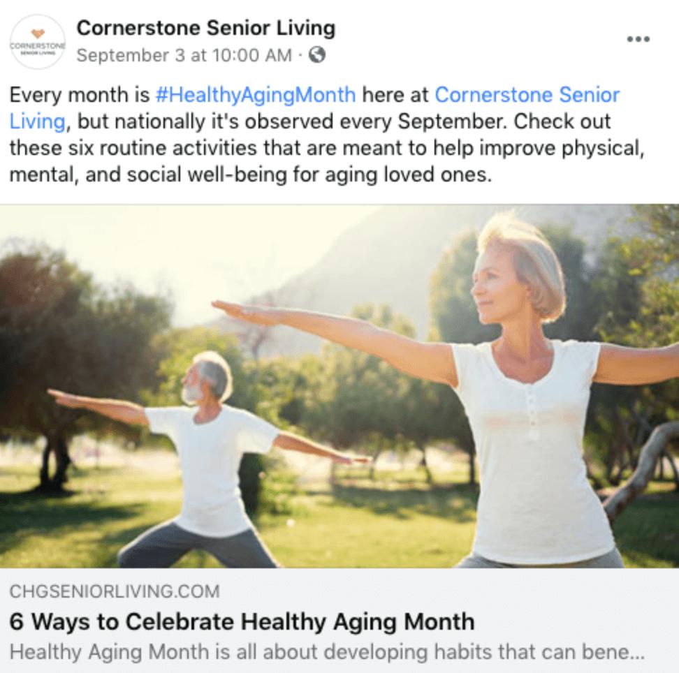Social Media Management Post For Senior Care
