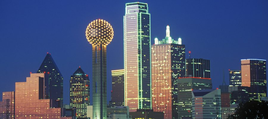 Dallas, TX skyline at night