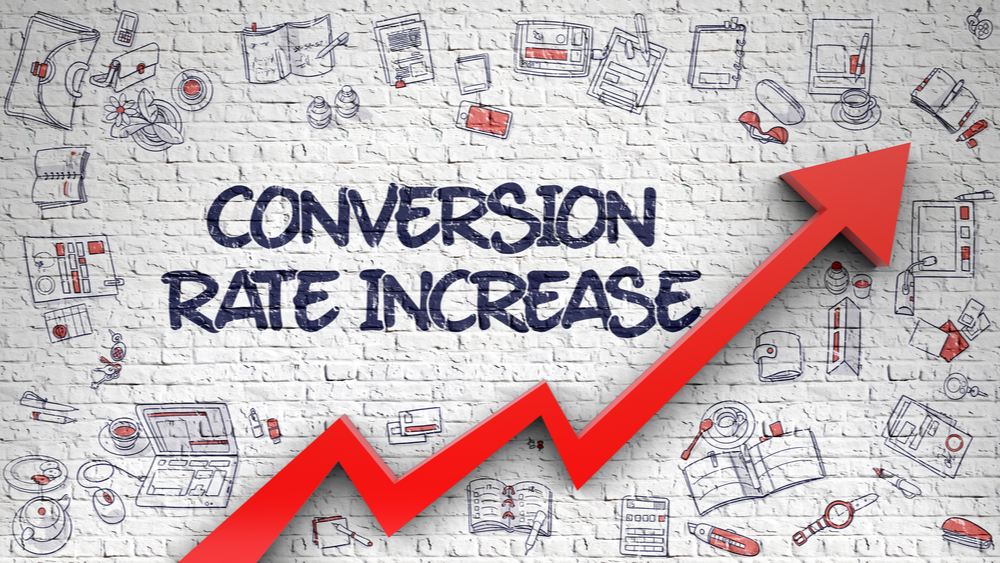 Conversion Rate Increase Inscription on Modern Style Illustation. with Red Arrow and Doodle Icons Around.