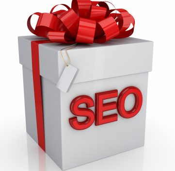 A present with SEO on the box