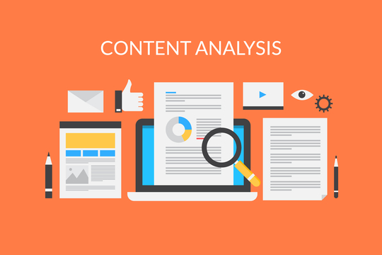 Content research on laptop screen, web content analysis, search content information illustration with icons