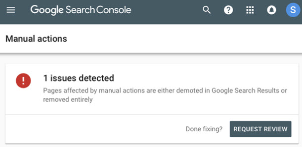 Google search console showing a manual action on a site