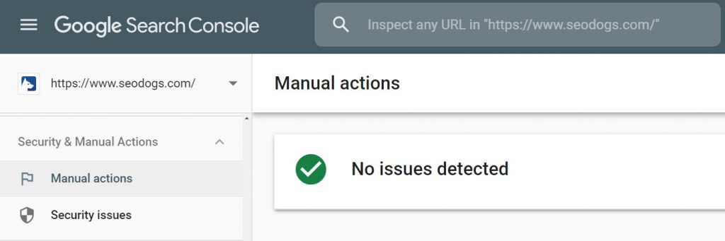 Google search console showing no manual actions