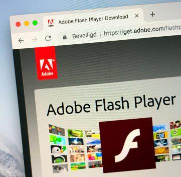 Website of Adobe Flash Player.