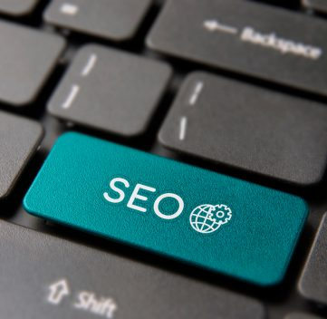 SEO business service keyboard button for online marketing concept