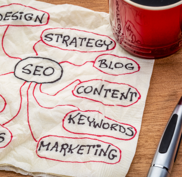 search engine optimization mindmap on napkin with cup of coffee