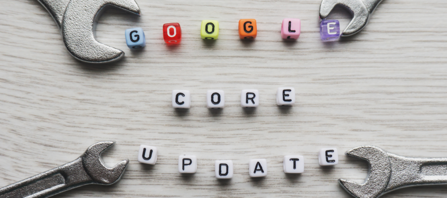 Google core update sign made with square beads letters with wrenches.