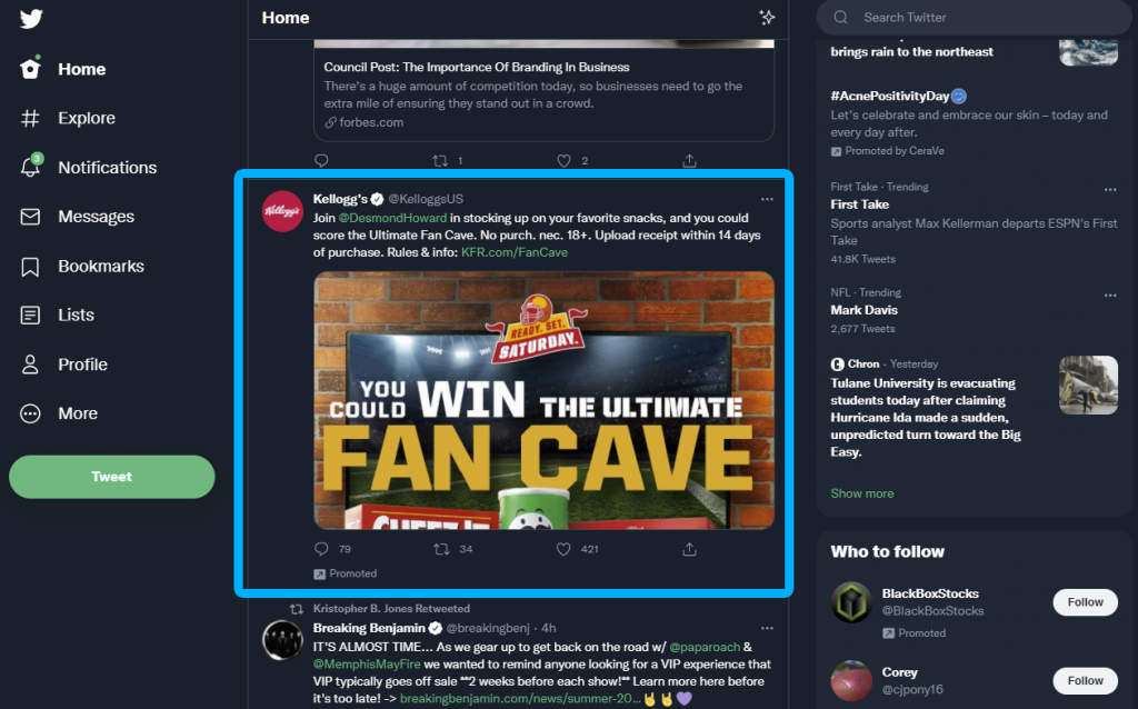 Twitter Native Ad Example